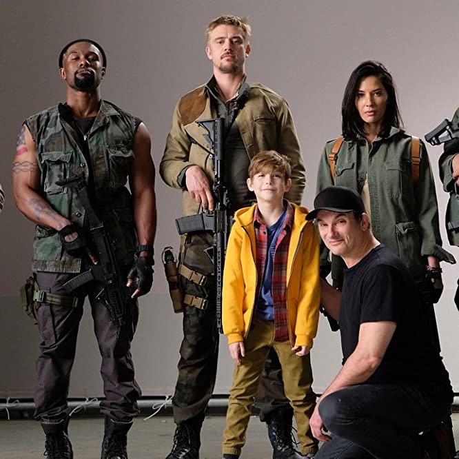 Shane Black, Keegan-Michael Key, Sterling K. Brown, Olivia Munn, Boyd Holbrook, Jacob Tremblay, and Trevante Rhodes in The Predator (2018)