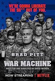 Brad Pitt, Anthony Michael Hall, Daniel Betts, Topher Grace, Anthony Hayes, Emory Cohen, John Magaro, Aymen Hamdouchi, and RJ Cyler in War Machine (2017)