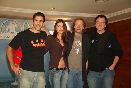 Eli Roth, Barbara Nedeljakova, Greg Nicotero, and Quentin Tarantino at the 2005 Sitges International Film Festival.