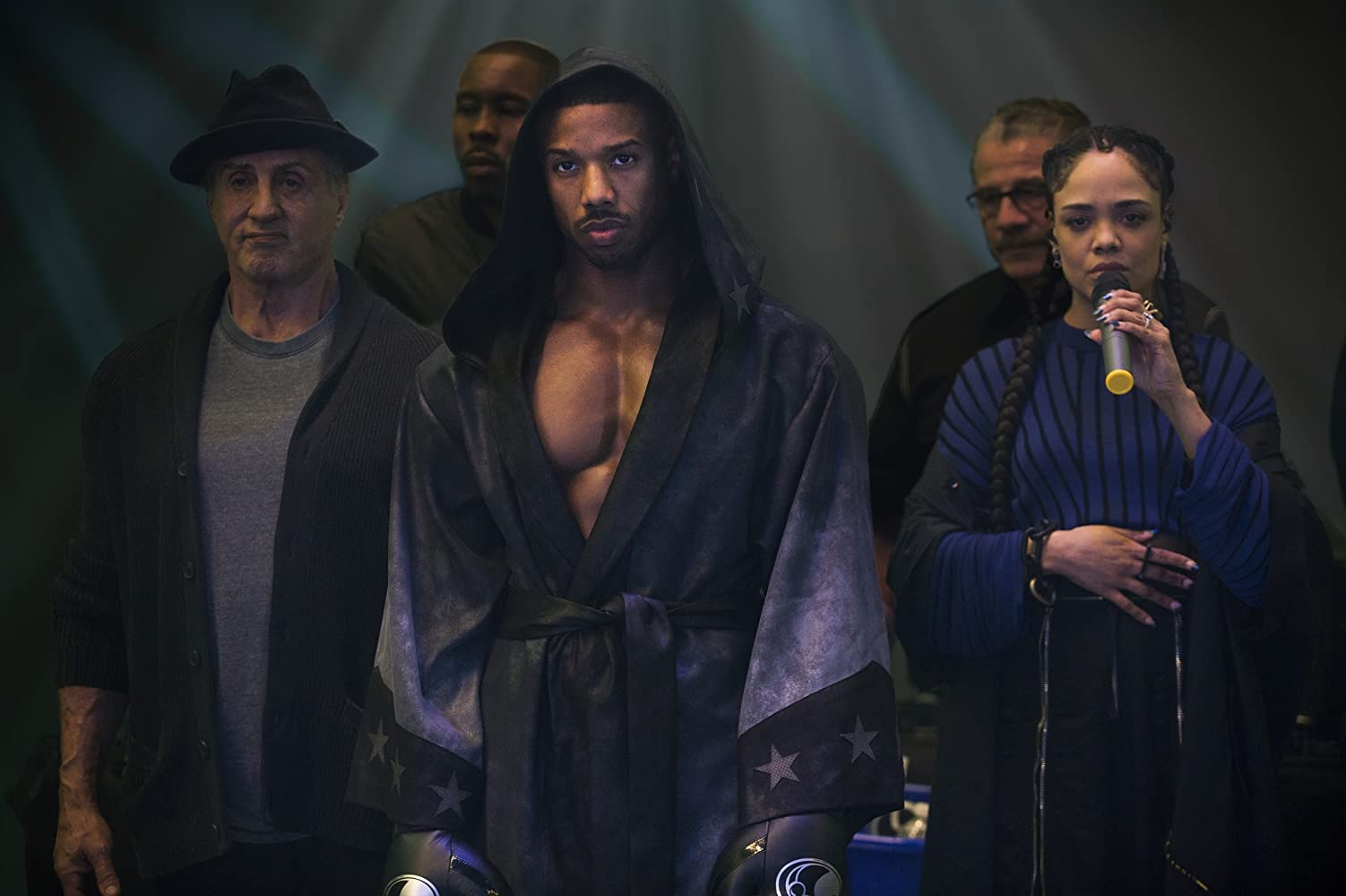 Sylvester Stallone, Jacob 'Stitch' Duran, Wood Harris, Michael B. Jordan, and Tessa Thompson in Creed II (2018)