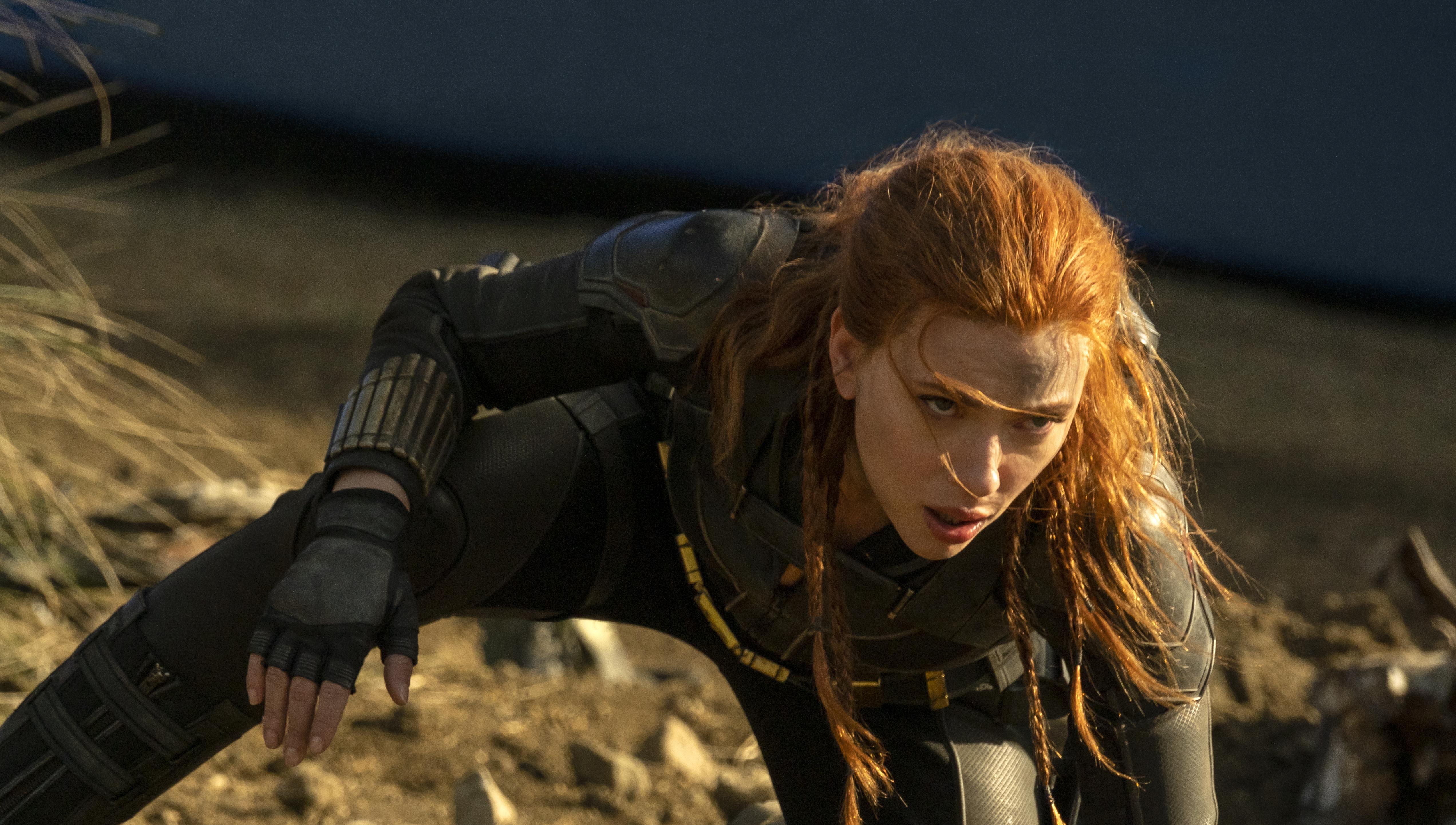 Scarlett Johansson, Jay Maidment, and Natasha Romanoff in Black Widow (2021)