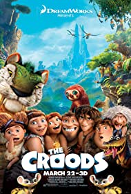 Nicolas Cage, Catherine Keener, Cloris Leachman, Ryan Reynolds, Clark Duke, Chris Sanders, Randy Thom, and Emma Stone in The Croods (2013)
