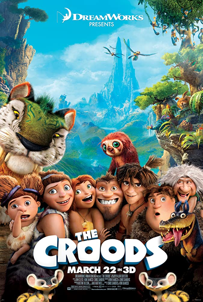 Nicolas Cage, Catherine Keener, Cloris Leachman, Ryan Reynolds, Clark Duke, Chris Sanders, Randy Thom, and Emma Stone in The Croods (2013)