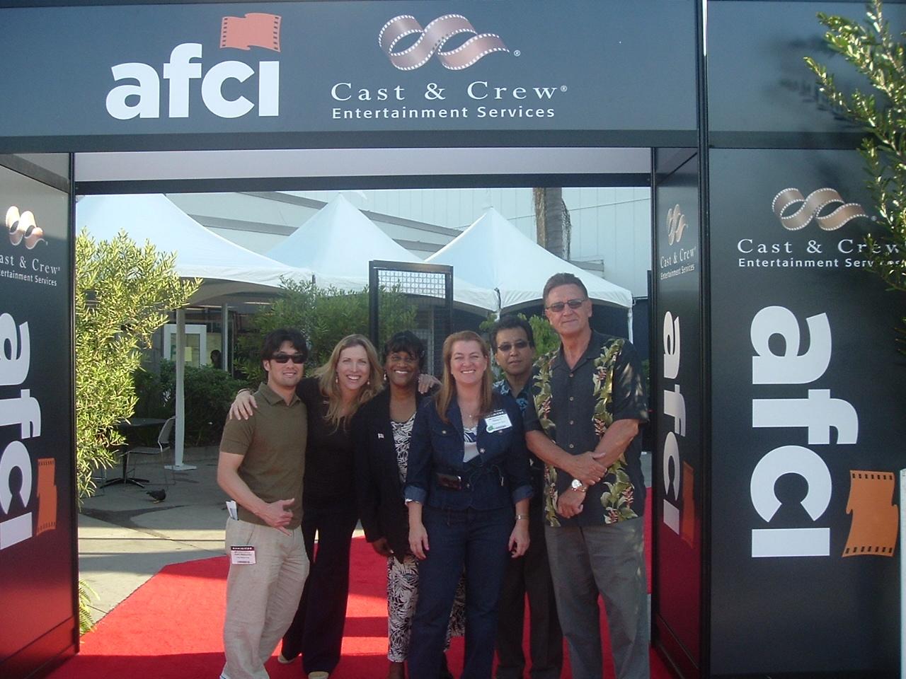 Kent Matsuoka with Hawaii State Film Commissoner, Donne Dawson; Benita Brazier, Maui; Walea Constantinau, Honolulu; Art Umezu, Kauai; and John Mason, Big Island. AFCI Location Trade Show, 2009.