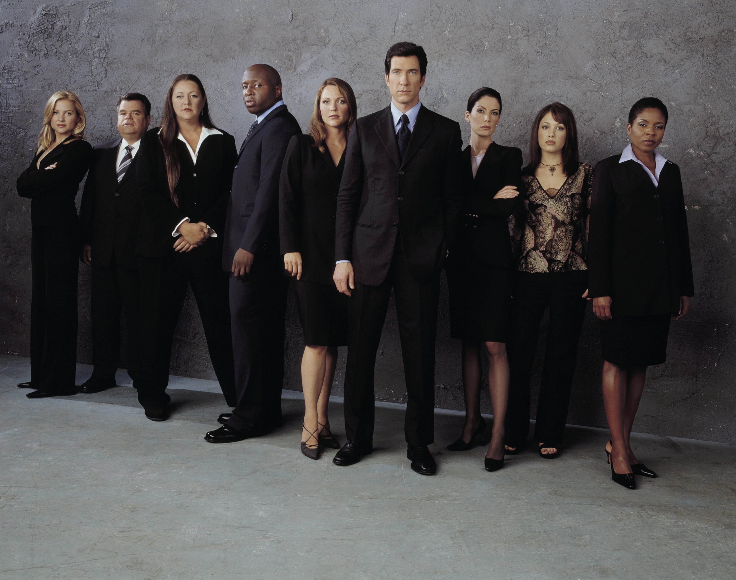 Lara Flynn Boyle, Dylan McDermott, Jessica Capshaw, LisaGay Hamilton, Steve Harris, Camryn Manheim, Marla Sokoloff, Kelli Williams, and Michael Badalucco in The Practice (1997)