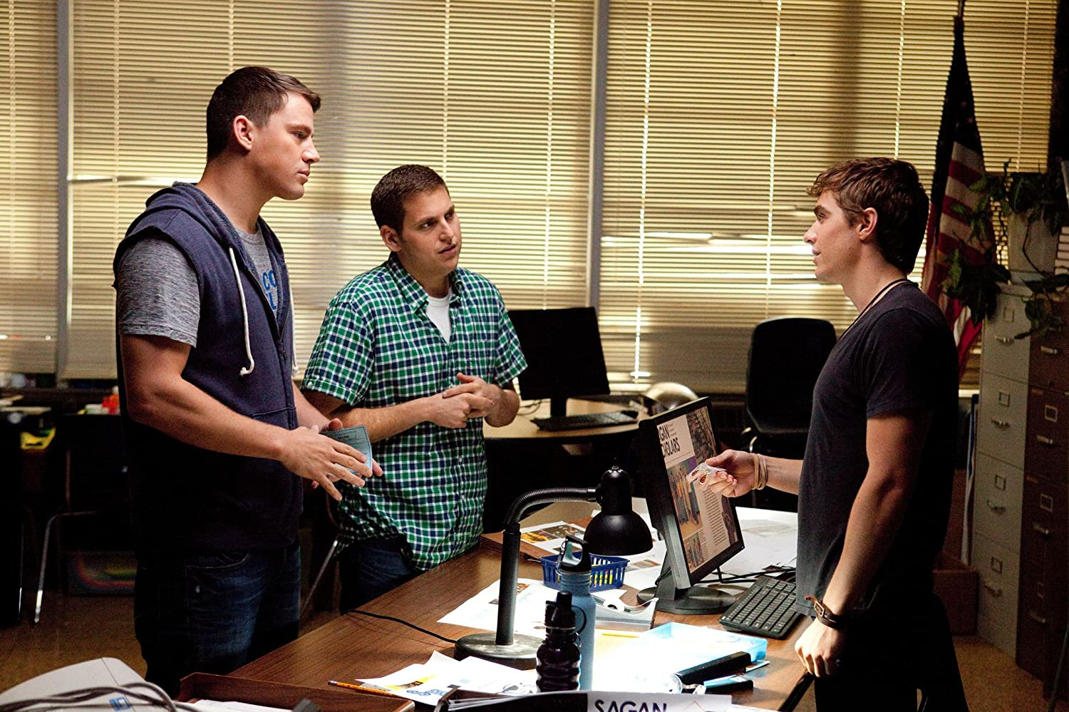Channing Tatum, Jonah Hill, and Dave Franco in 21 Jump Street (2012)