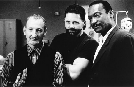 Robert Englund, Kane Hodder, and Tony Todd in Wishmaster (1997)