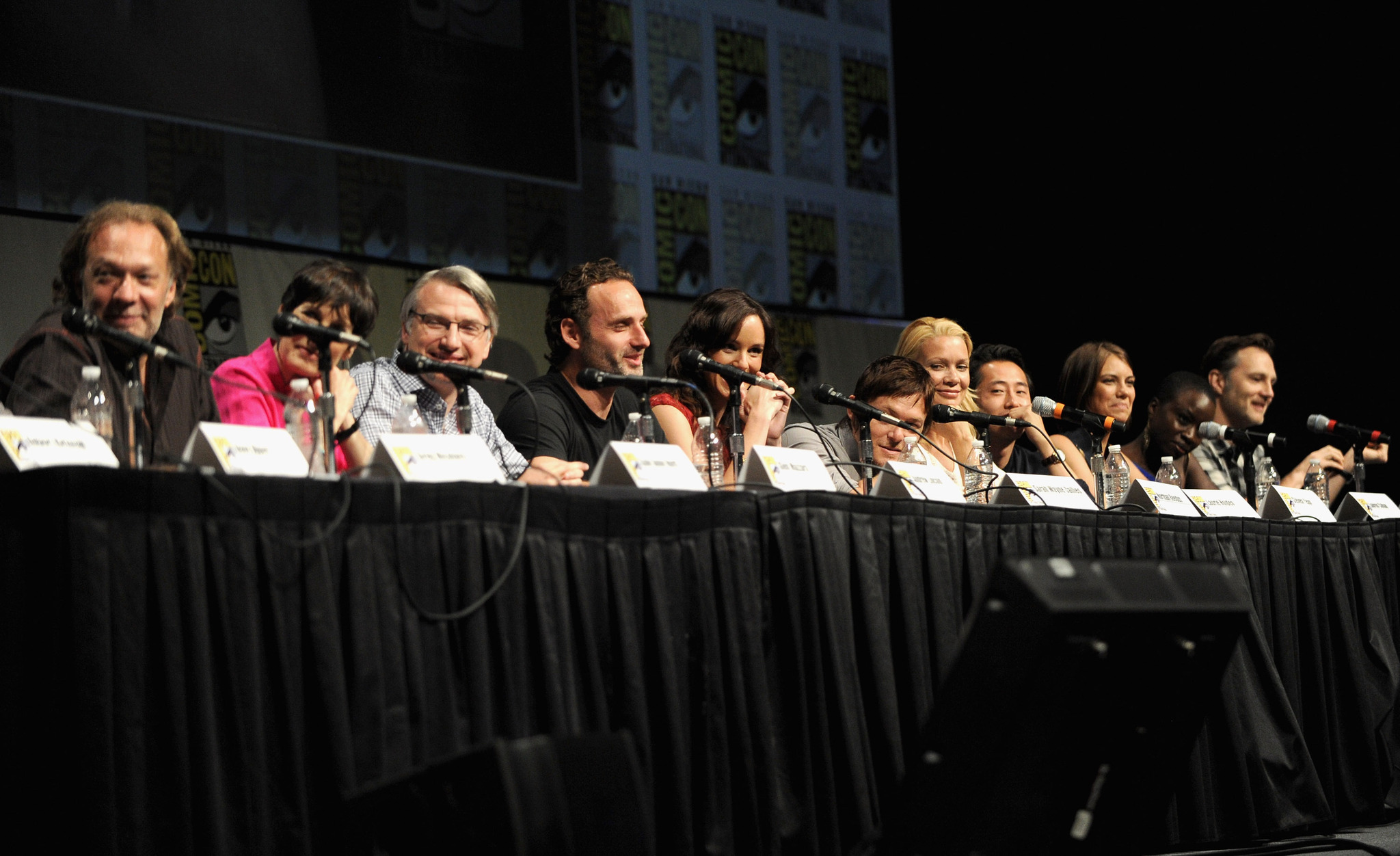 Gale Anne Hurd, Norman Reedus, Laurie Holden, Andrew Lincoln, David Morrissey, Greg Nicotero, Sarah Wayne Callies, Glen Mazzara, Lauren Cohan, Danai Gurira, and Steven Yeun at an event for The Walking Dead (2010)