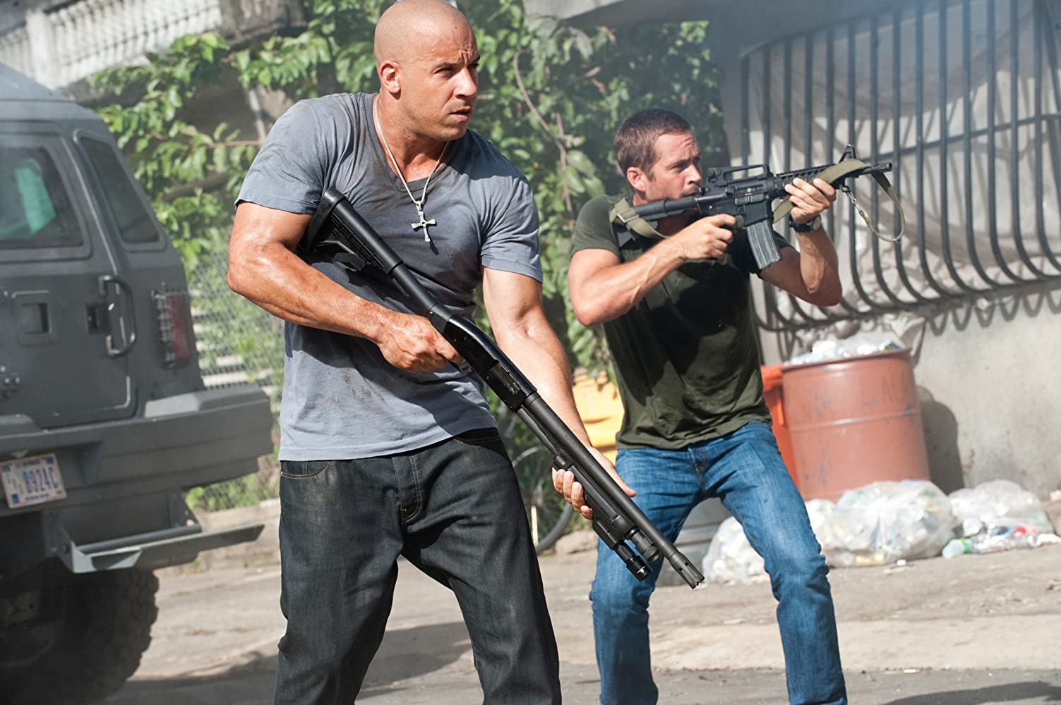 Vin Diesel and Paul Walker in Fast Five (2011)