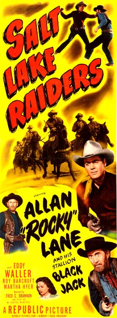 Roy Barcroft, Martha Hyer, Allan Lane, Eddy Waller, and Black Jack in Salt Lake Raiders (1950)