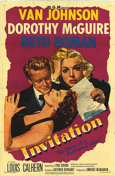 Van Johnson, Louis Calhern, Dorothy McGuire, and Ruth Roman in Invitation (1952)