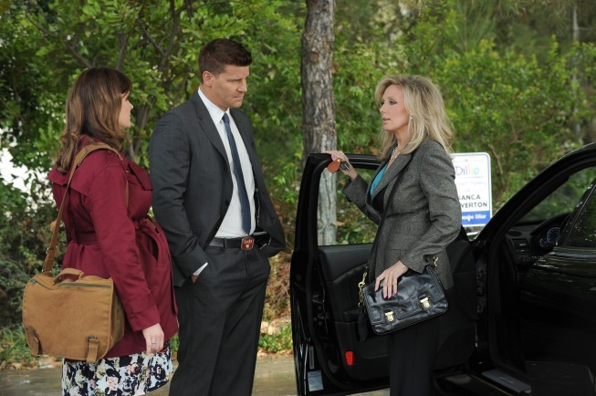 Morgan Fairchild, David Boreanaz, and Emily Deschanel in Bones (2005)