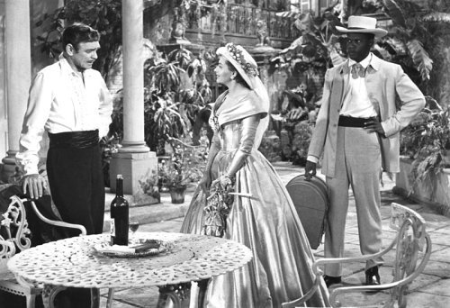 Clark Gable, Yvonne De Carlo, and Sidney Poitier in Band of Angels (1957)