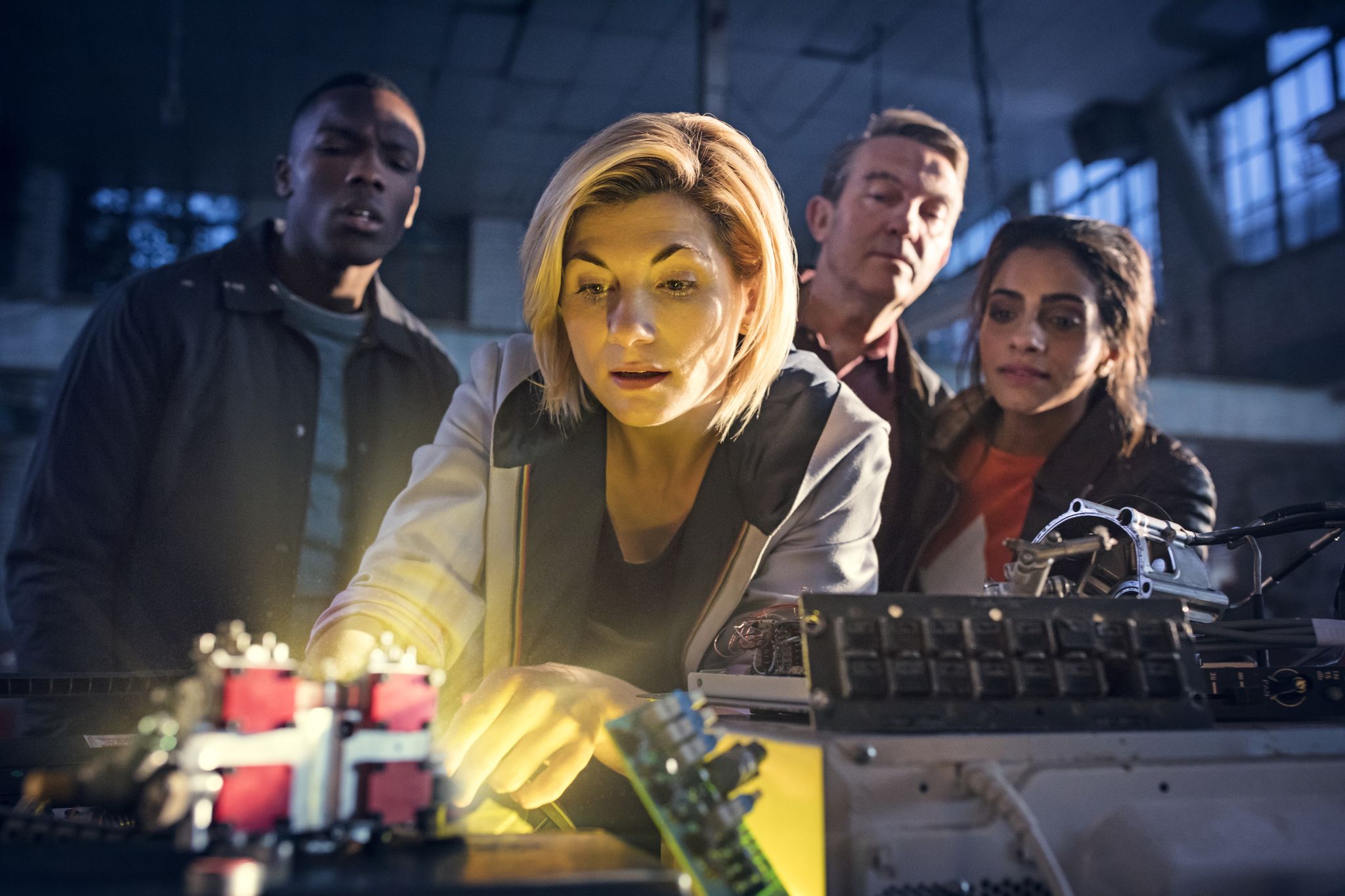 Bradley Walsh, Jodie Whittaker, Tosin Cole, and Mandip Gill in Doctor Who (2005)
