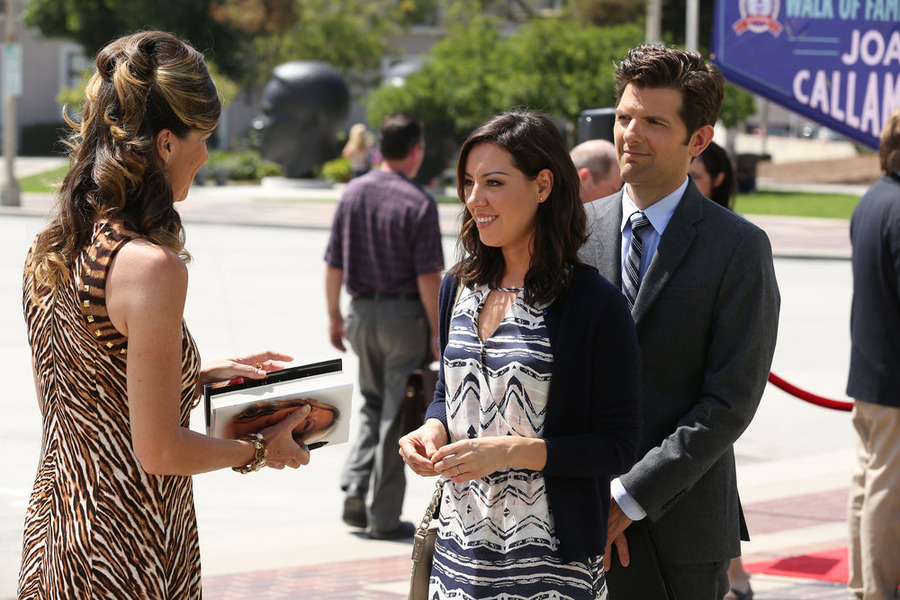 Adam Scott, Mo Collins, and Aubrey Plaza in Parks and Recreation (2009)