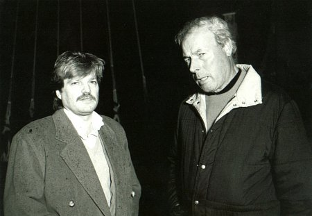Ilya Salkind and John Glen on the set of CHRISTOPHER COLUMBUS: THE DISCOVERY (1992)