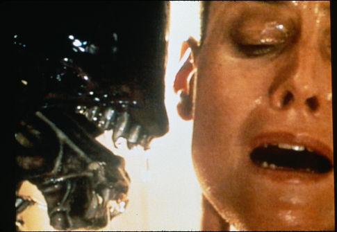 Sigourney Weaver and Tom Woodruff Jr. in Alien³ (1992)