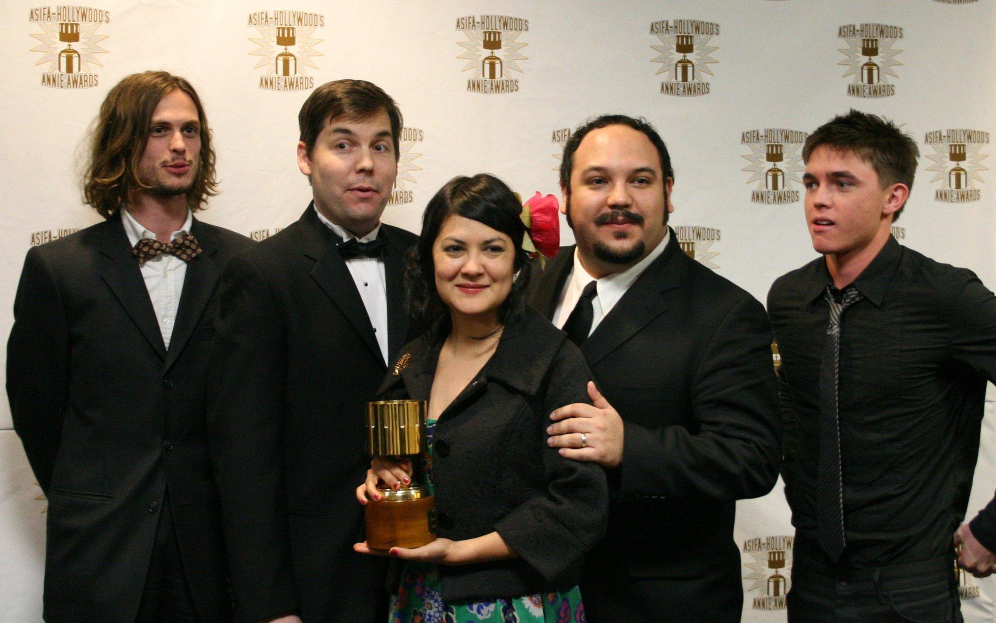 Presenters Matthew Gray Gubler and Jesse McCartney flank Dave Thomas, Sandra Equihua, and Jorge Gutierrez, winners for best children's TV production
