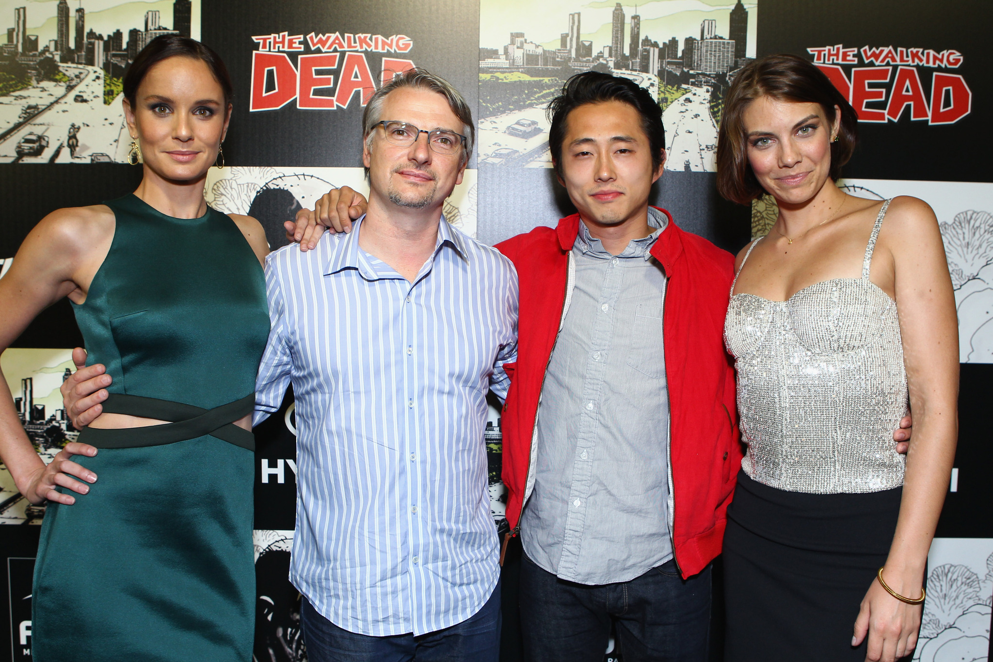 Sarah Wayne Callies, Glen Mazzara, Lauren Cohan, and Steven Yeun at an event for The Walking Dead (2010)