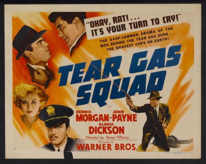 Gloria Dickson, Dennis Morgan, Adrian Morris, and John Payne in Tear Gas Squad (1940)