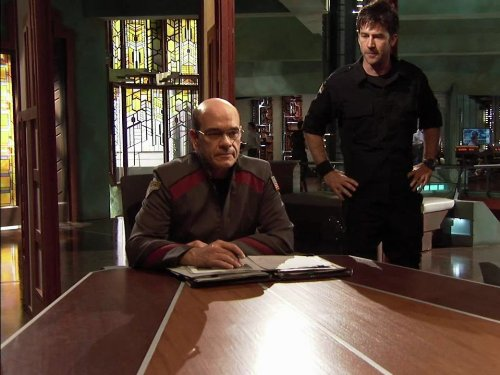 Robert Picardo and Joe Flanigan in Stargate: Atlantis (2004)