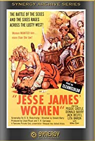 Lita Baron, Don 'Red' Barry, and Peggie Castle in Jesse James' Women (1954)