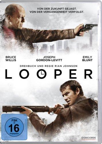 Bruce Willis and Joseph Gordon-Levitt in Looper (2012)