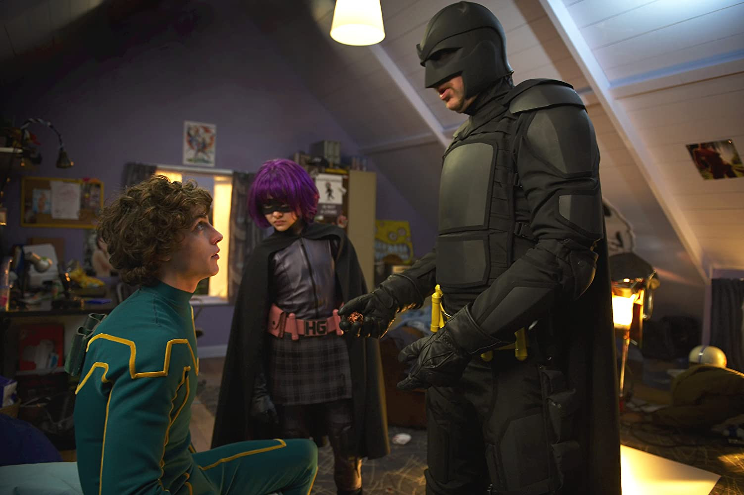 Nicolas Cage, Aaron Taylor-Johnson, and Chloë Grace Moretz in Kick-Ass (2010)