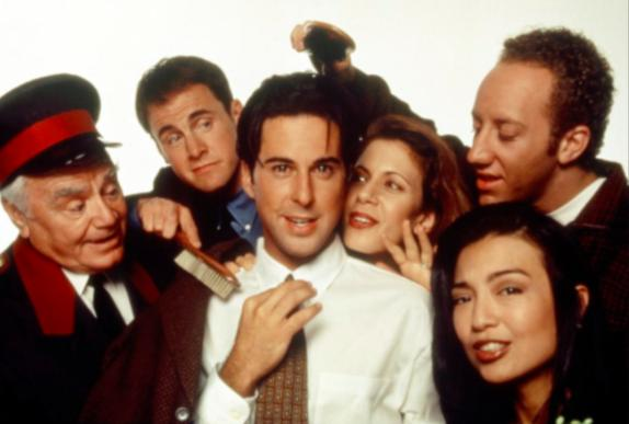 Ernest Borgnine, Jonathan Silverman, Ming-Na Wen, Jessica Hecht, Mark Moses, and Joey Slotnick in The Single Guy (1995)