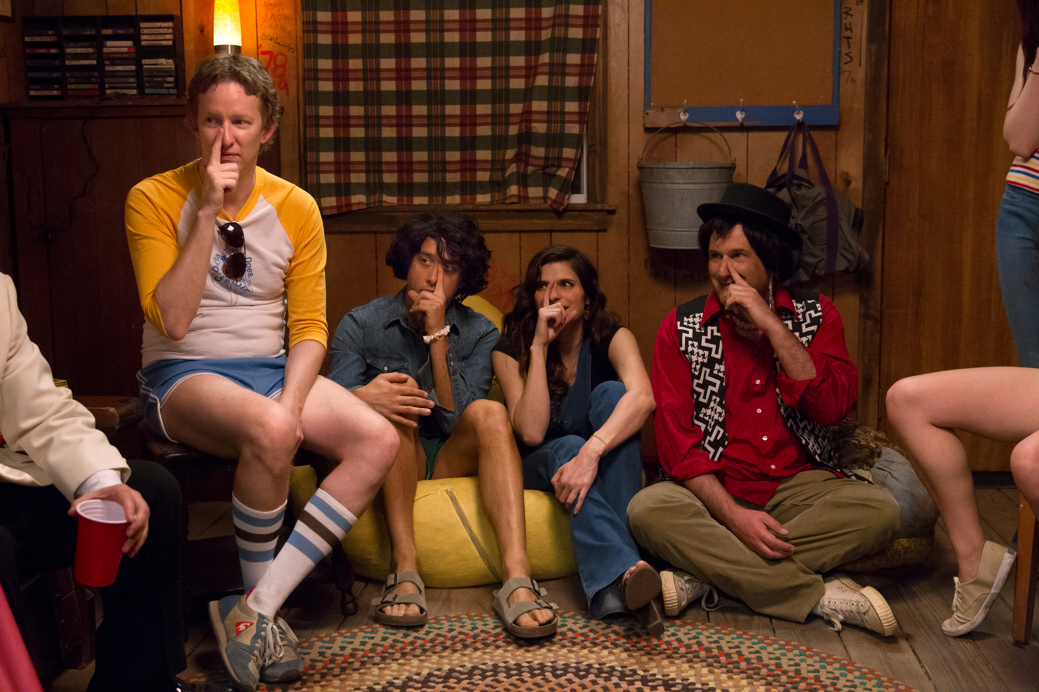 A.D. Miles, Michael Showalter, David Wain, and Lake Bell in Wet Hot American Summer: First Day of Camp (2015)