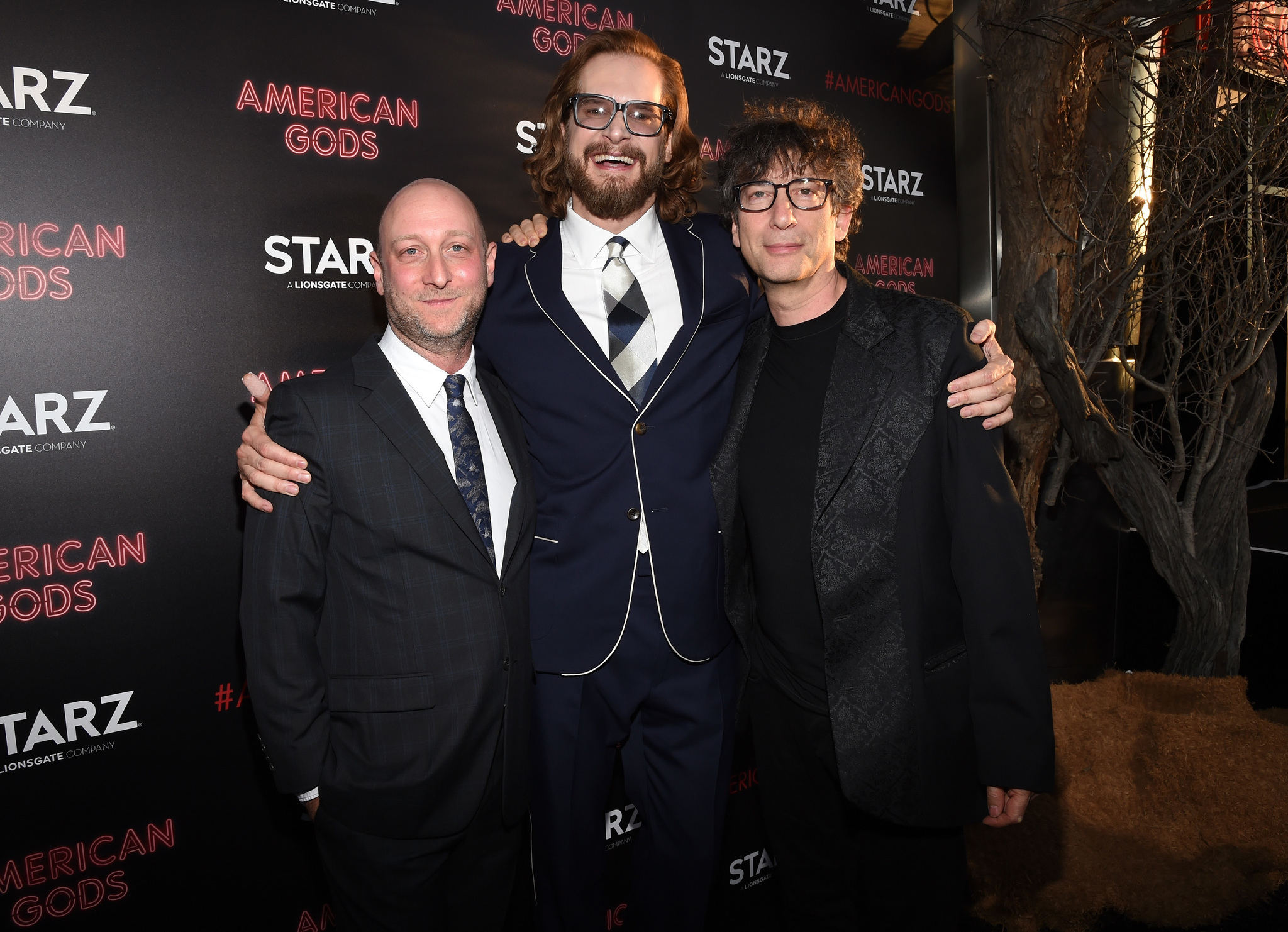 Bryan Fuller, Neil Gaiman, and Michael Green at an event for American Gods (2017)