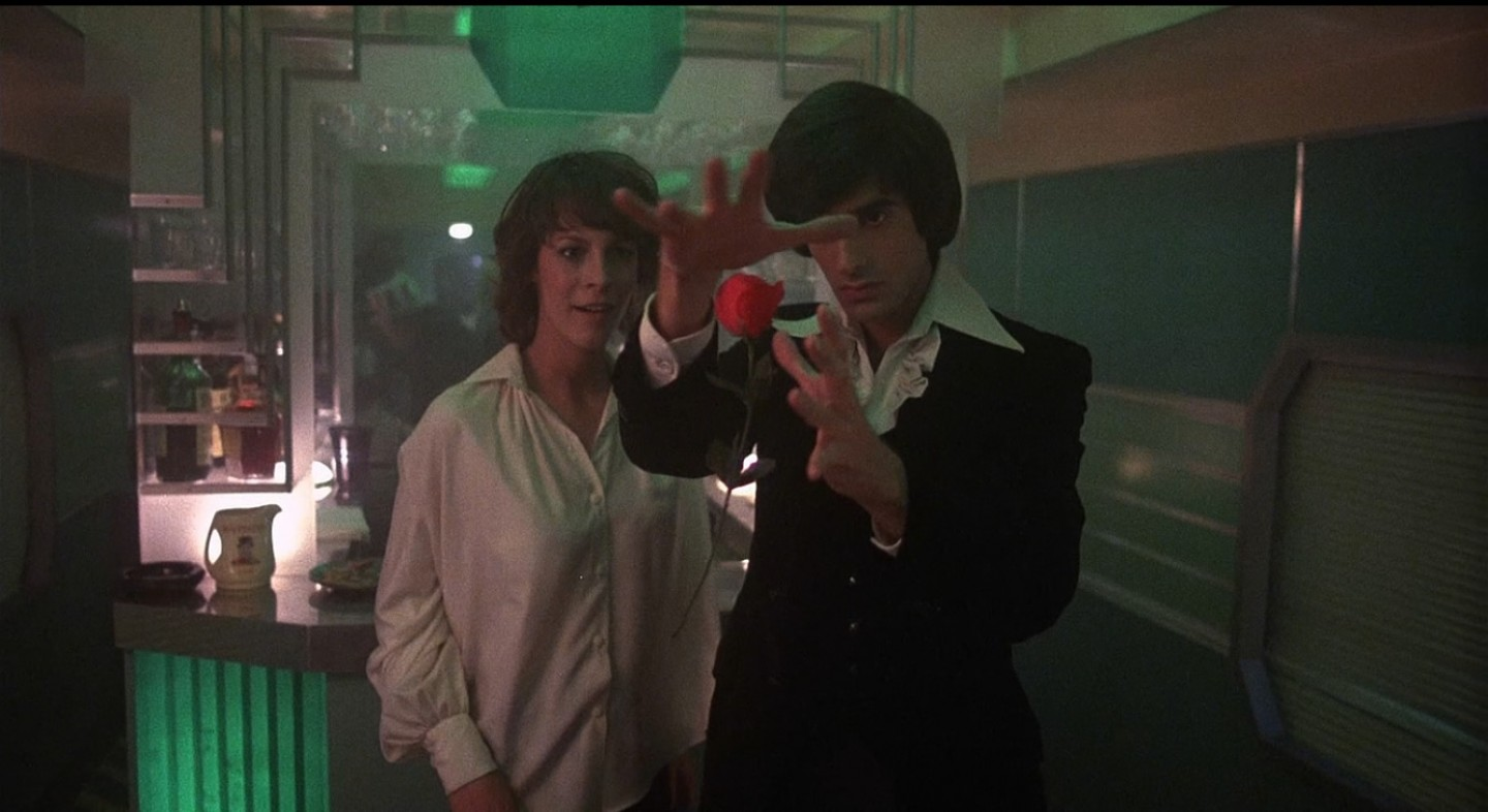 Jamie Lee Curtis and David Copperfield in Terror Train (1980)