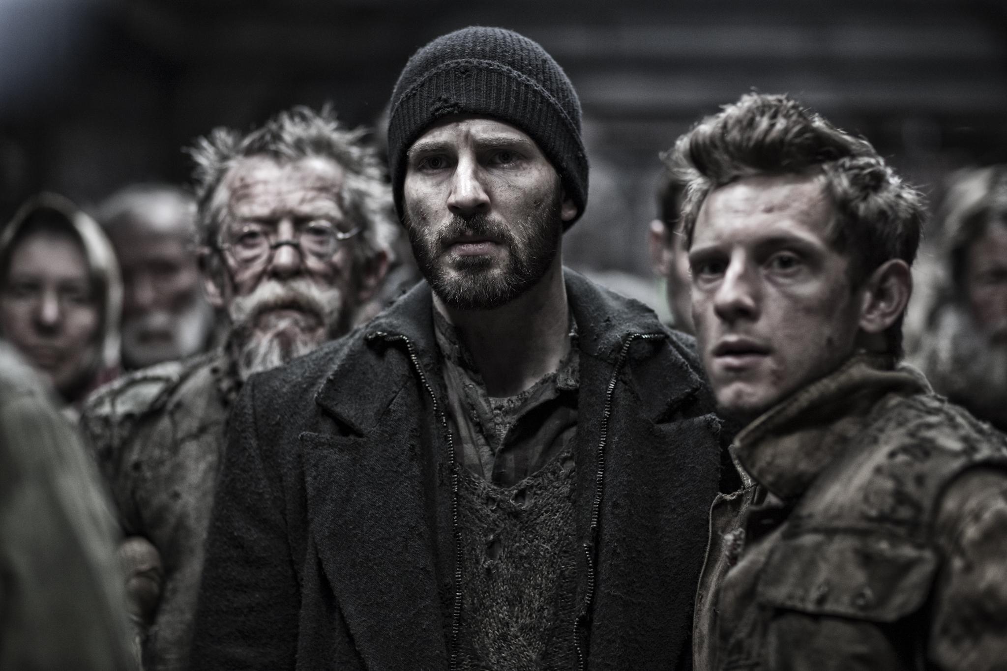 John Hurt, Jamie Bell, and Chris Evans in Snowpiercer (2013)