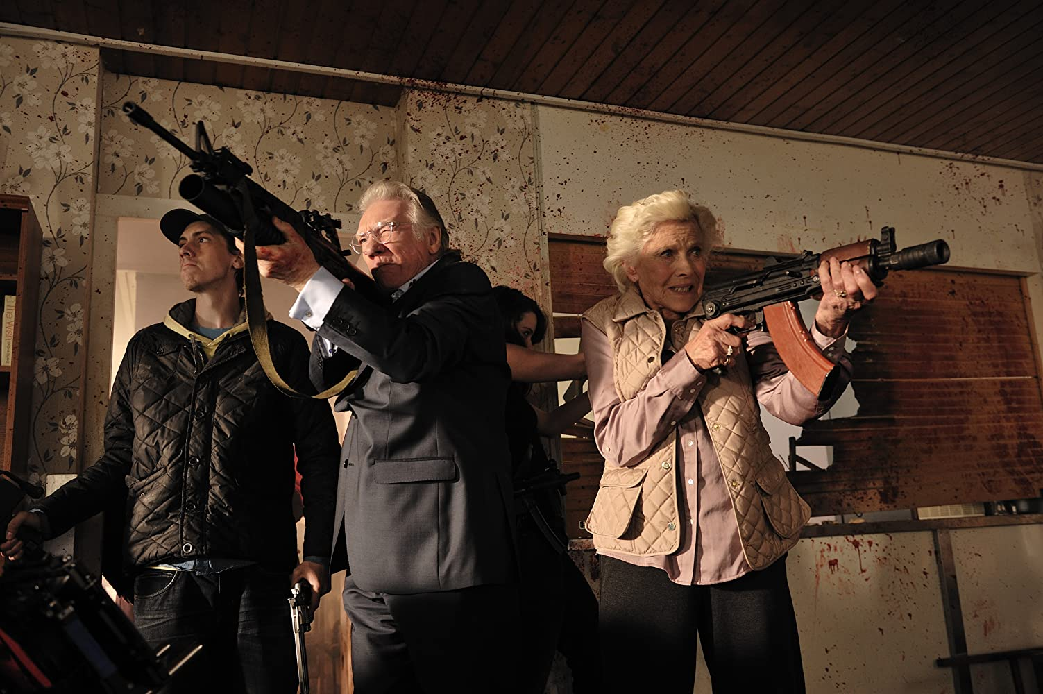 Honor Blackman, Alan Ford, and Rasmus Hardiker in Cockneys vs Zombies (2012)