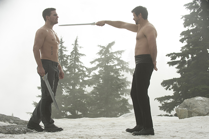 Stephen Amell and Matt Nable in Arrow (2012)