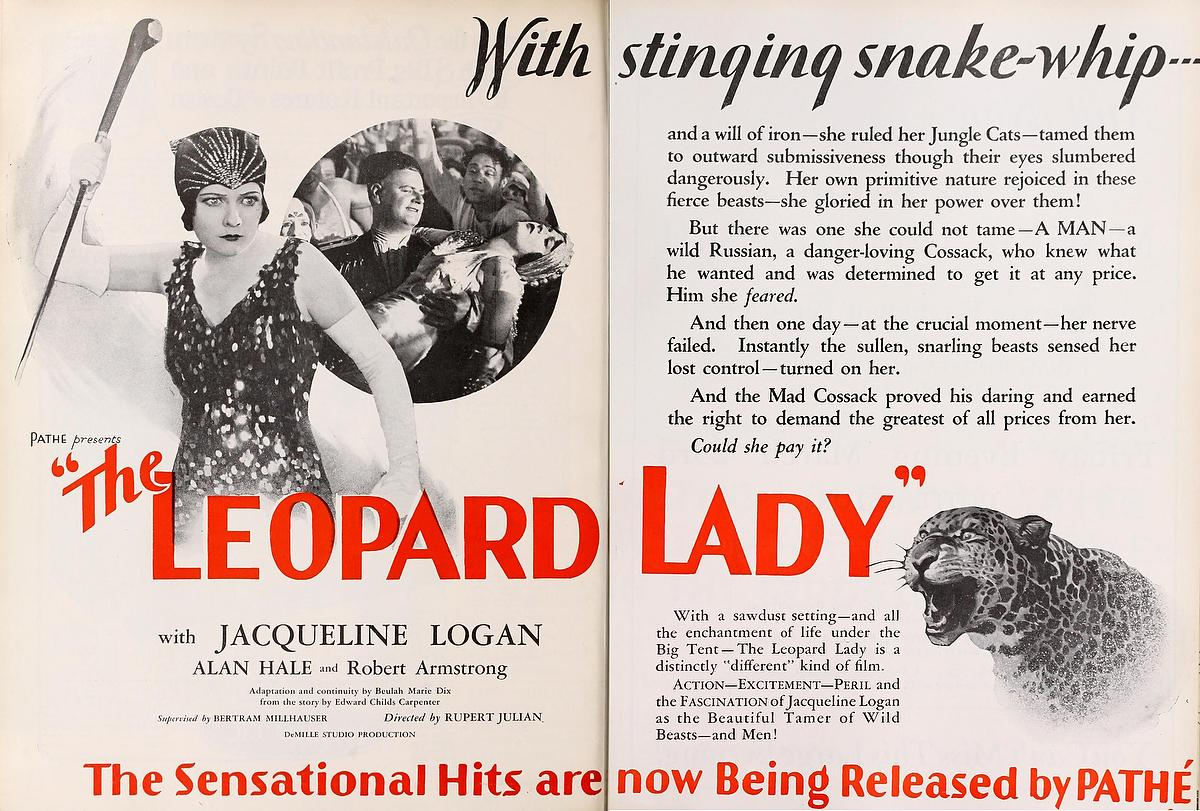 Alan Hale and Jacqueline Logan in The Leopard Lady (1928)