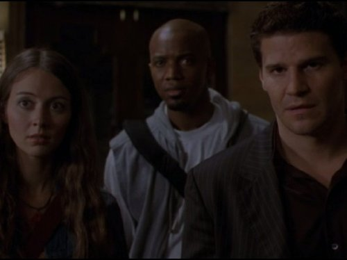 David Boreanaz, Amy Acker, and J. August Richards in Angel (1999)