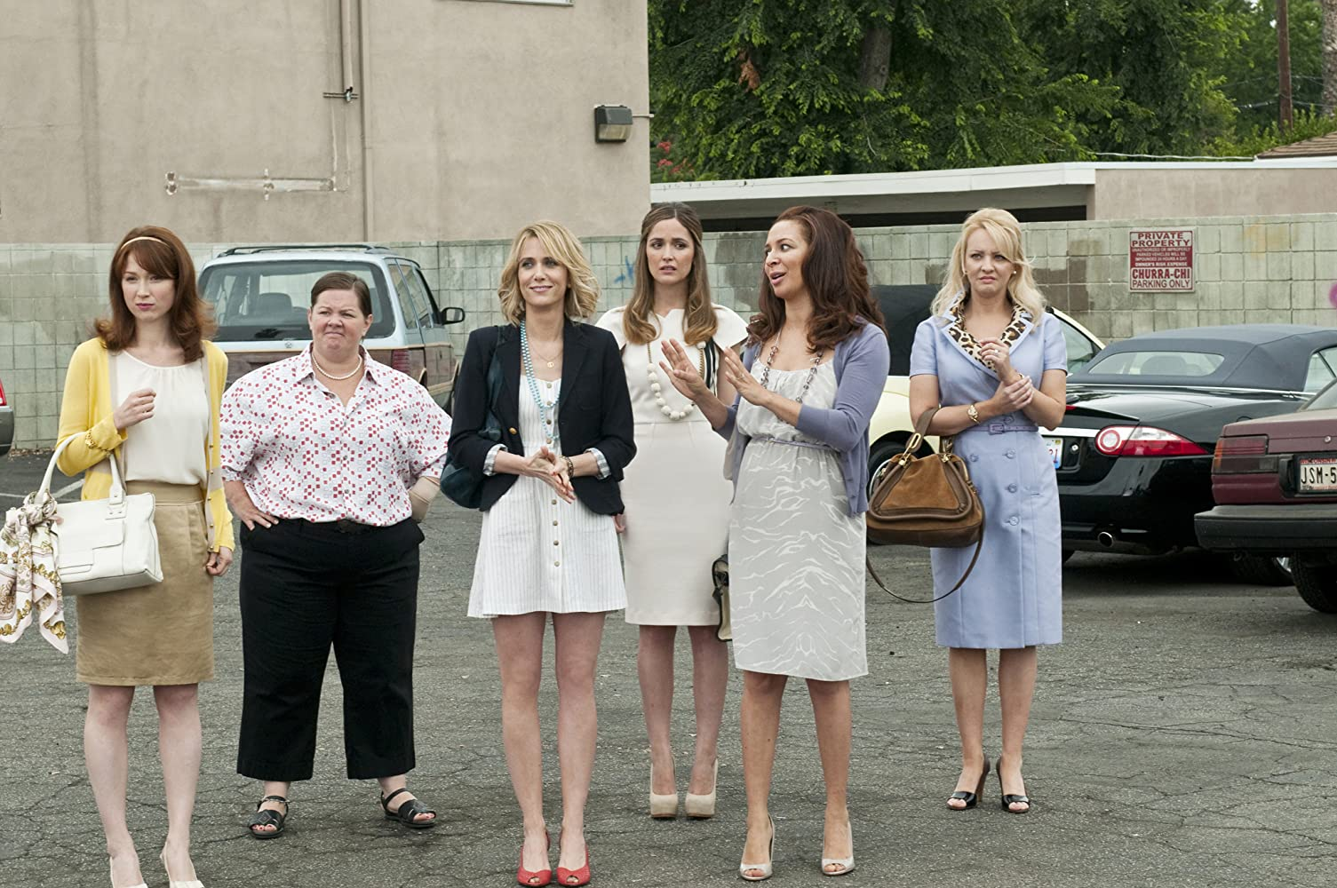 Rose Byrne, Melissa McCarthy, Maya Rudolph, Wendi McLendon-Covey, Kristen Wiig, and Ellie Kemper in Bridesmaids (2011)