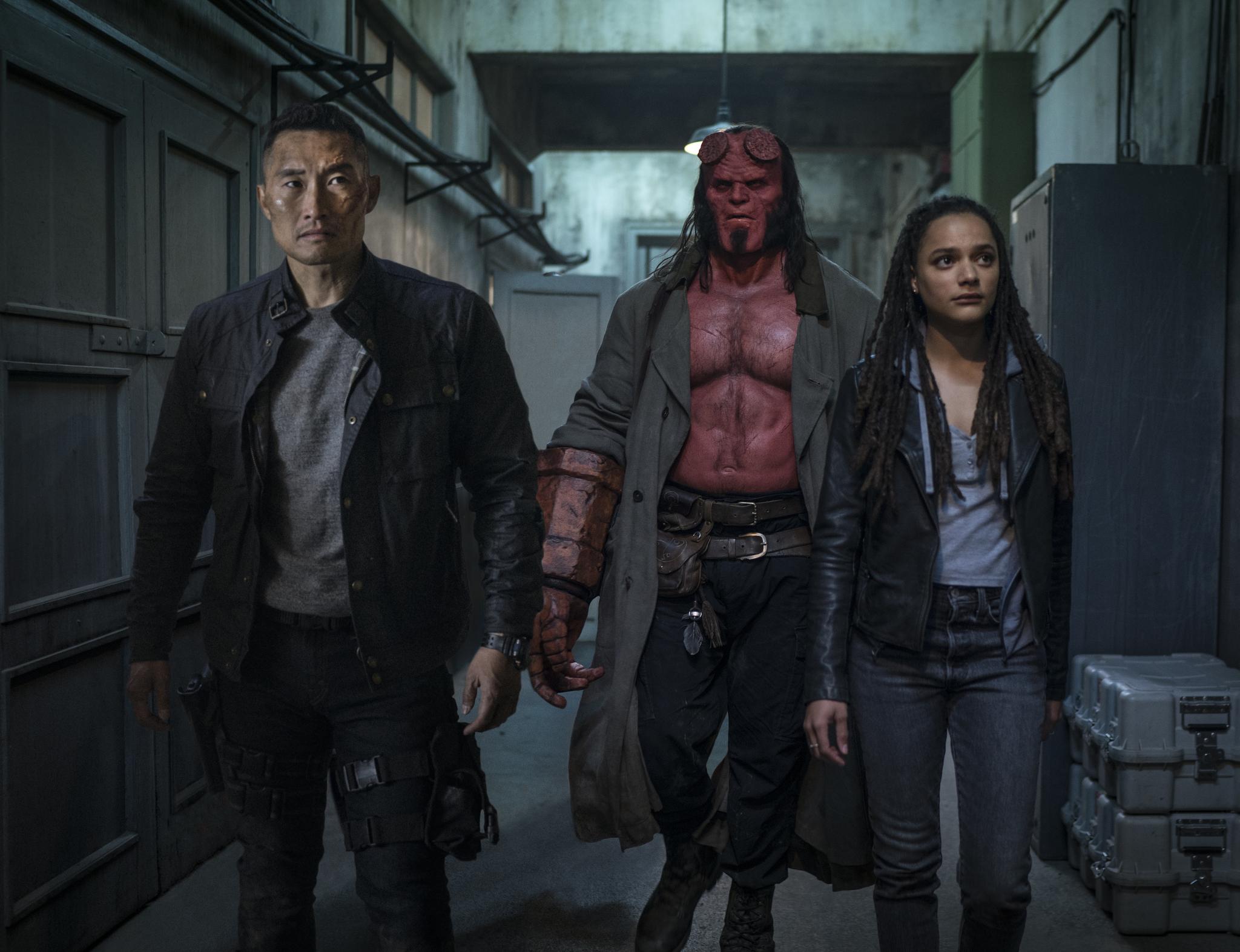 Daniel Dae Kim, David Harbour, and Sasha Lane in Hellboy (2019)