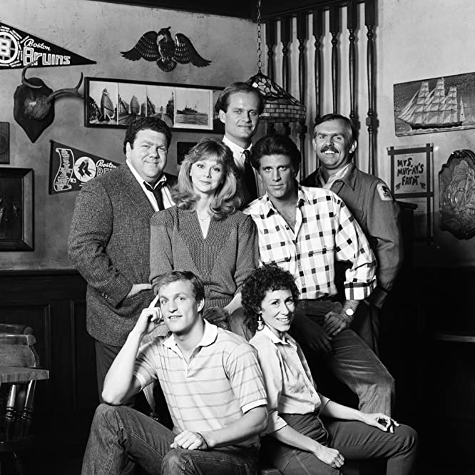 Woody Harrelson, Ted Danson, Kelsey Grammer, Shelley Long, John Ratzenberger, George Wendt, and Rhea Perlman in Cheers (1982)