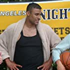 Rob O'Malley, Rick Fox and Zack Lively on the set of OFF SEASON