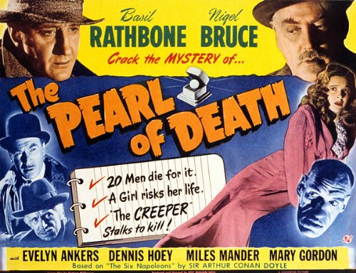 Basil Rathbone, Evelyn Ankers, Nigel Bruce, Rondo Hatton, Dennis Hoey, and Miles Mander in The Pearl of Death (1944)