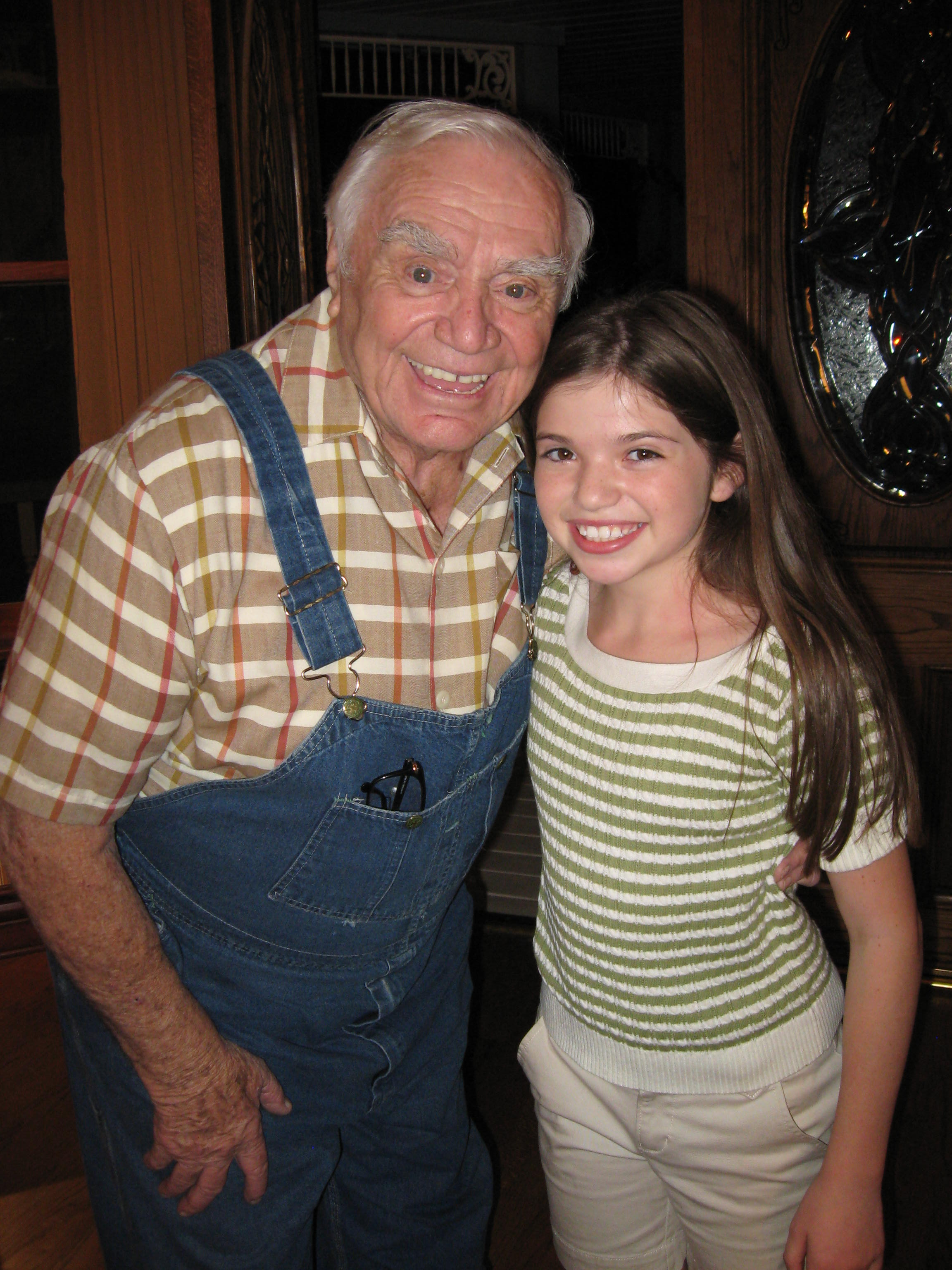 """Jadin with Ernest Borgnine on the set of Hallmark's """"Wishing Well"""""""