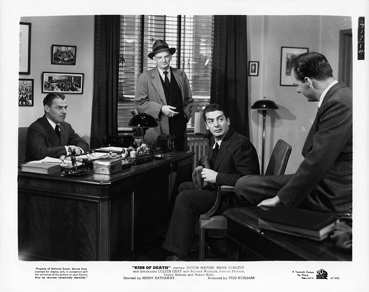 Karl Malden, Victor Mature, Brian Donlevy, and Millard Mitchell in Kiss of Death (1947)