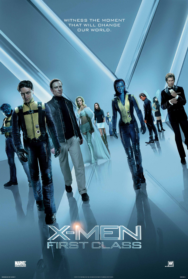 Kevin Bacon, Jason Flemyng, January Jones, Rose Byrne, Nicholas Hoult, James McAvoy, Michael Fassbender, Lucas Till, Jennifer Lawrence, and Zoë Kravitz in X: First Class (2011)