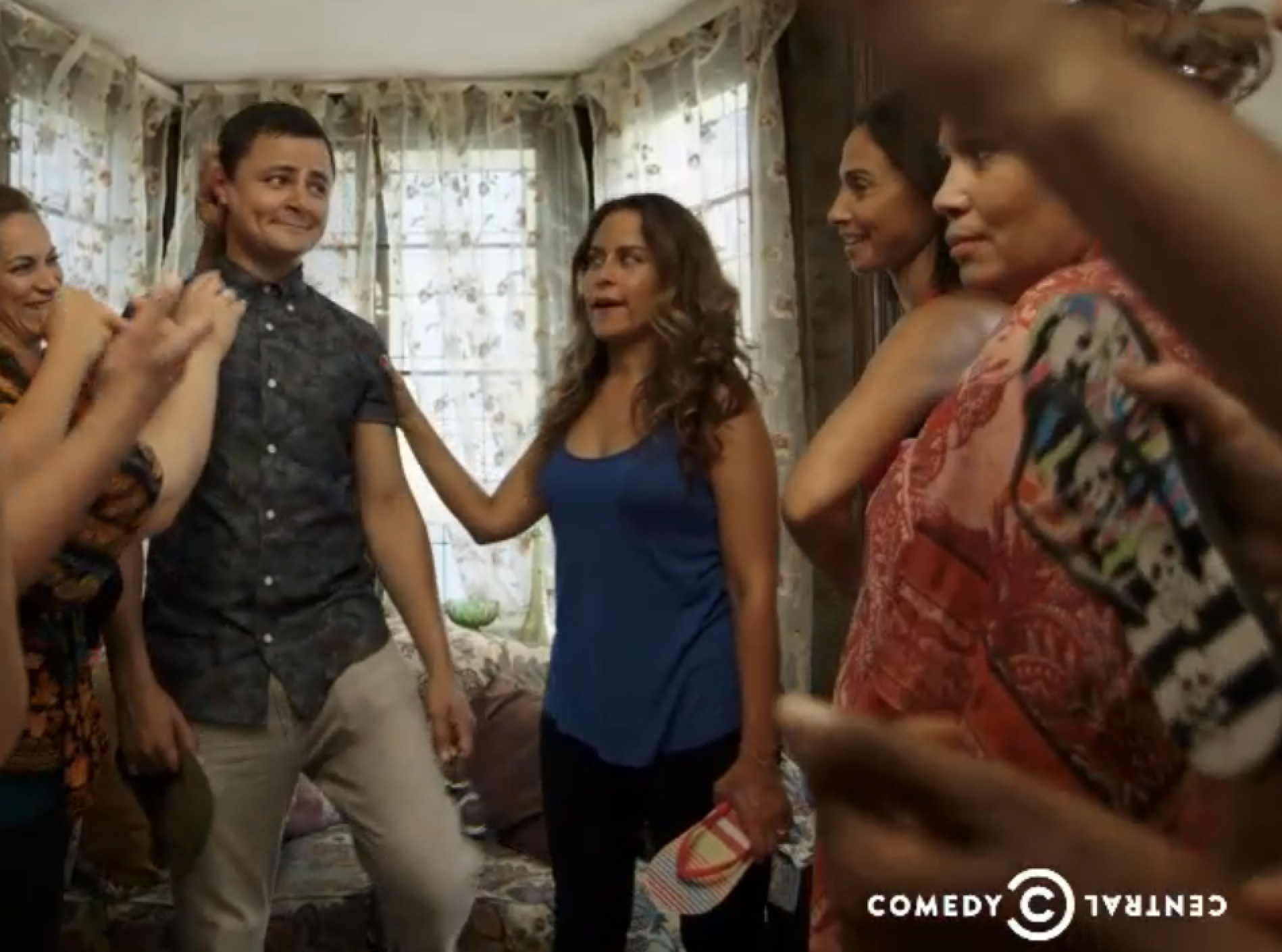 "Still of Lisann Valentin with Arturo Castro, in the series ""Alternatino."""