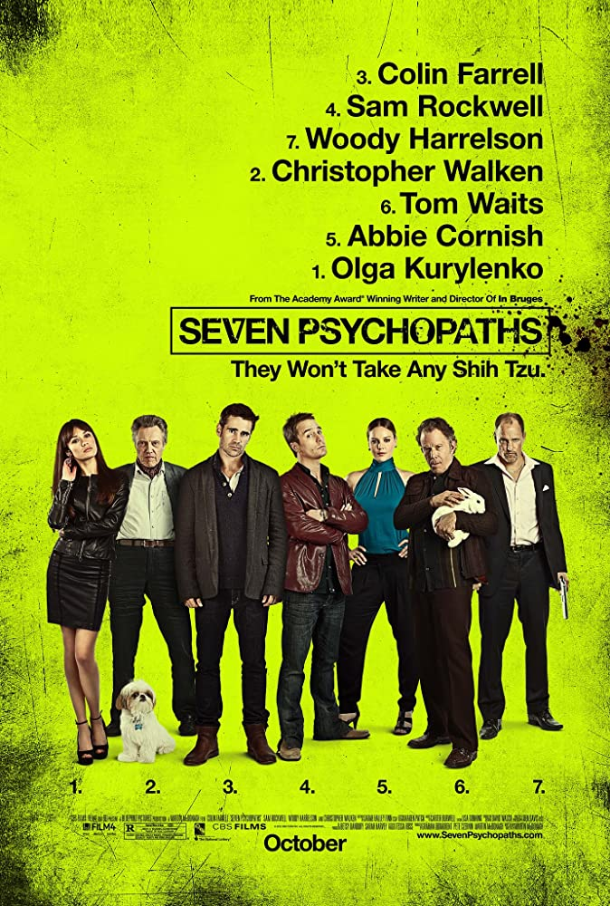 Woody Harrelson, Christopher Walken, Tom Waits, Sam Rockwell, Abbie Cornish, Colin Farrell, and Olga Kurylenko in Seven Psychopaths (2012)