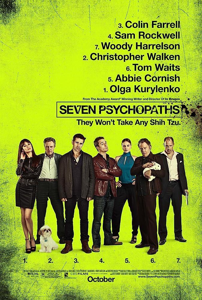 Woody Harrelson, Christopher Walken, Tom Waits, Sam Rockwell, Abbie Cornish, Colin Farrell, and Olga Kurylenko in Seven Psychopaths (2012)