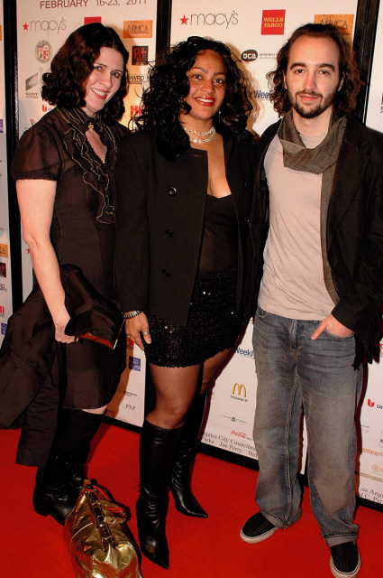 "Pictured with Director Angela Gordon and Composer Milo Coello for ""How Do You Spell Love,"" at Pan African Film Festival Cast and Crew Party, Hi Point Studios, February 21, 2011"