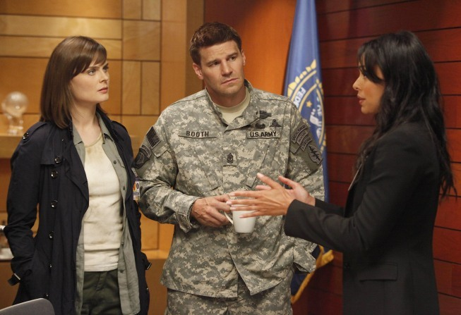 David Boreanaz, Emily Deschanel, and Tamara Taylor in Bones (2005)